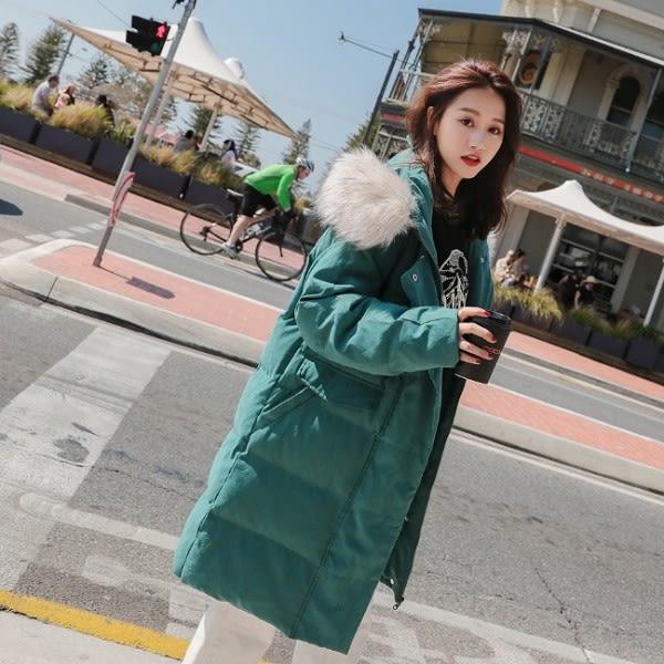 梨卡 - 甜美夢幻超美大毛領中長版防風保暖毛領連帽鋪棉仿羽絨外套風衣長大衣/2色AR013-2
