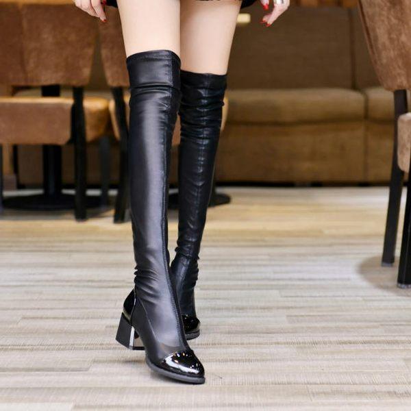 正韓冬季長筒女士保暖加絨高筒粗跟長靴彈力顯瘦圓頭中高跟靴—全館新春優惠