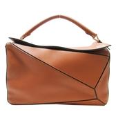 LOEWE 羅威 焦糖棕色牛皮手提斜背包 Large Puzzle Bag【二手名牌BRAND OFF】