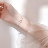 新品 銀閃鑽圓圈雙層手鍊簡約個性冷淡風小眾設計手環韓版學生女飾品