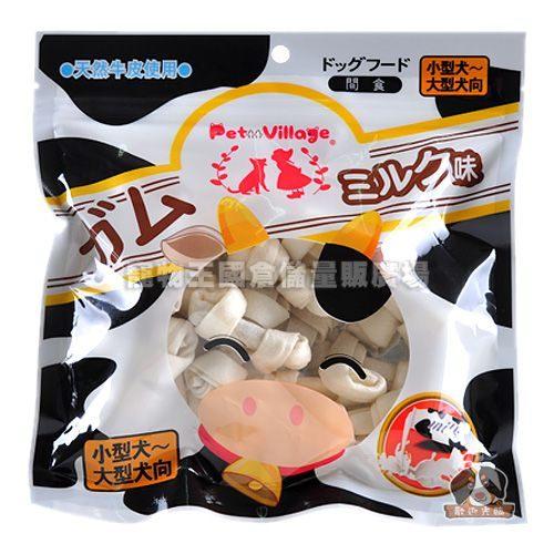 【寵物王國】Pet Village/PV-2521MKB 天然潔牙牛奶牛皮骨結21入
