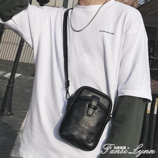 潮流新款時尚青年小包戶外運動騎行挎包潮流皮質男士單肩包手機包 范思蓮恩