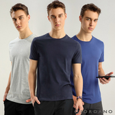 【GIORDANO】男裝簡約素色純棉圓領短袖T恤(三件裝)- 26 灰/海軍藍/藍