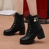 高跟粗跟防水台系帶歐美女鞋短靴保暖馬丁靴系帶女靴子 全館免運