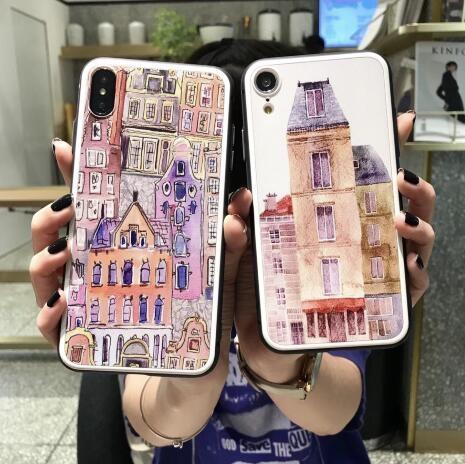 【SZ35】iphone XS max手機殼 浮雕塗鴉房子 iphone XR手機殼 iphone 8 plus手機殼 iphone6s/7/8 plus手機殼