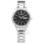 CITIZEN 星辰表 / PD7140-58E /  機械錶 自動上鍊 藍寶石水晶玻璃 日期 花紋錶面 不鏽鋼手錶 黑色 29mm