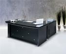 HY-549-1   晶鑽黑金鋼L型主管桌-5.8尺-整組-六角形斜邊設計
