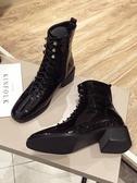 馬丁靴英倫風馬丁靴女年新款秋季單靴春秋百搭粗跟中跟黑色小短靴聖誕交換禮物