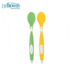 布朗博士 Dr.Brown's 彈性矽膠學習湯匙(2入) /軟質餵食湯匙.訓練餐具.不碰桌設計