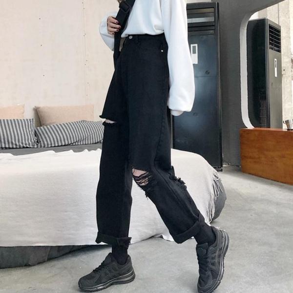 破洞牛仔褲女春秋2021新款寬鬆闊腿顯瘦百搭大碼胖mm九分直筒褲子 韓國時尚週 免運