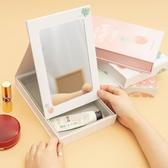 伊人便攜儲物化妝鏡帶收納盒桌面梳妝鏡折疊