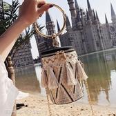 編織包 小包包女新款潮韓版編織手提圓筒包夏天鍊條側背斜背包 維科特3C
