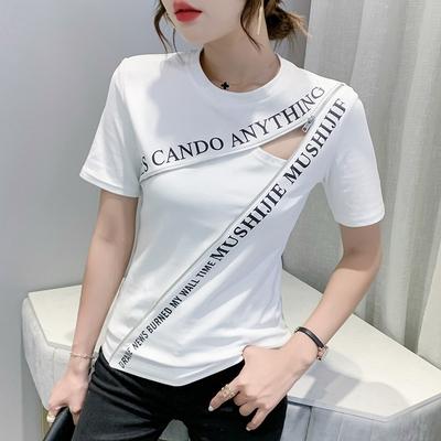 t恤 小衫修身顯瘦歐洲站夏裝新款短袖印花拉鏈修身時尚顯瘦T恤打底小衫女222實FFA055快時尚