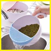 創意廚房淘米器瀝水籃 塑料洗菜盆水果蔬籃子洗米盆洗米篩菜籃子 初見居家