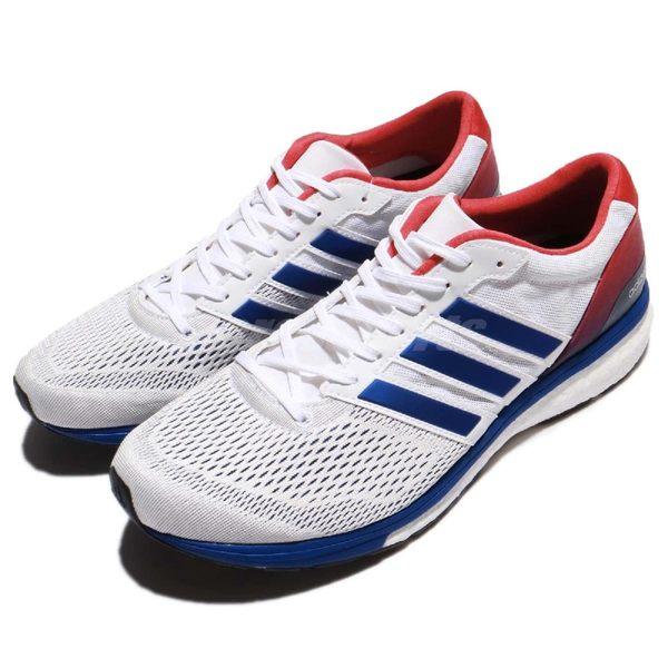 adidas 慢跑鞋 Adizero Boston 6 Aktiv 白 藍 BOOST中底 低筒 運動鞋 男鞋【PUMP306】 BA8145