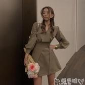 雙11西裝連身裙2020秋裝新款復古氣質收腰顯瘦小個子連身裙女轉長袖V領西裝裙子