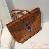 大包包托特包大容量軟皮手提單肩包女包購物袋【聚可愛】