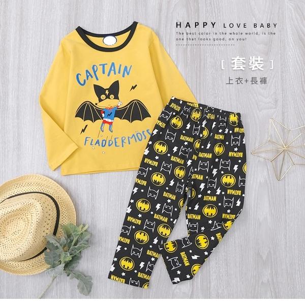 寶寶 可愛Q版蝙蝠俠趣味寶寶套裝 上衣 長褲 滿版 黃黑 薄 寶寶套裝 厚 寶寶上衣 寶寶長褲 冬童裝