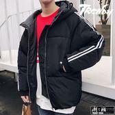 『潮段班』【HJ003277】秋冬新款線條素色羽絨保暖情侶外套夾克