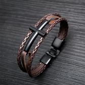 【5折超值價】經典潮流十字架三環造型鈦鋼皮手環