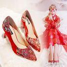 春新款韓版刺繡高跟中式婚鞋女紅色新娘鞋鞋子敬酒秀禾鞋結婚 時尚芭莎