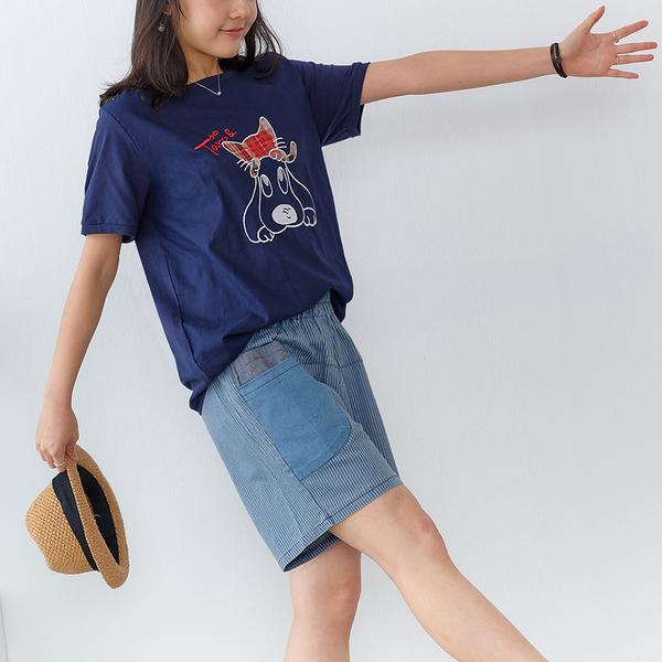【慢。生活】狗疊貓刺繡棉紗拼接上衣 9831 FREE深藍色