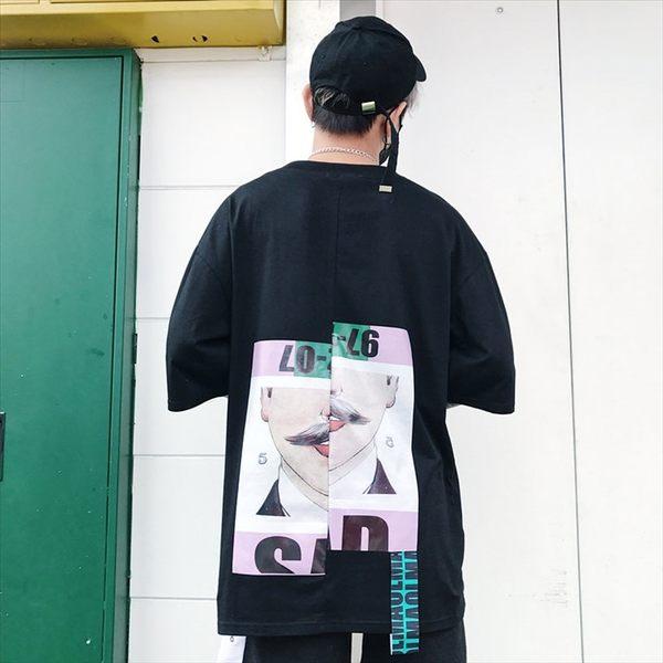日系時尚休閒寬鬆五分袖個性數字鬍子圖案短袖T恤 特色短T