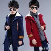 中大尺碼 男童呢子大衣童裝兒童男孩毛呢大童加加厚外套 ZQ1046『夢幻家居』