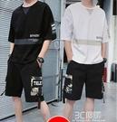 夏季短袖t恤男士2021新款時尚半袖休閒套裝衣服帥氣潮流潮牌一套 3C優購