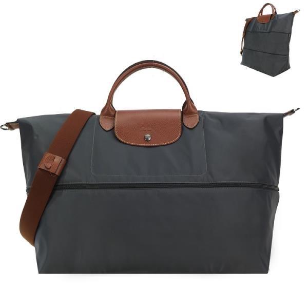 【南紡購物中心】LONGCHAMP LE PLIAGE 延展夾層手提/斜背旅行袋(鐵灰)
