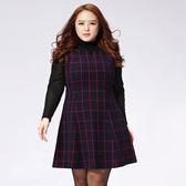 中大尺碼~無袖復古格子背心裙(不附內搭)(XL/3XL)