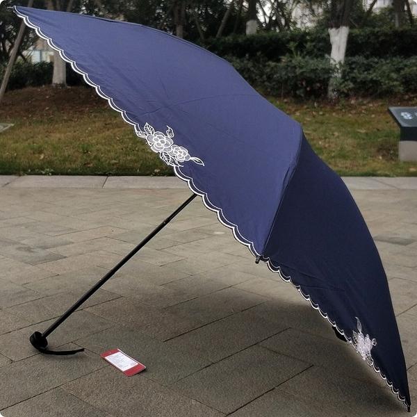 太陽城三折超輕純色蕾絲刺繡防紫外線太陽傘鉛筆傘晴雨傘S8S52QJ