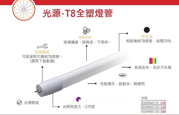 T8 LED 全塑燈管 四尺18W 白光 啟動快無閃頻/台灣製造/玻璃纖維不易碎/270度廣角光照