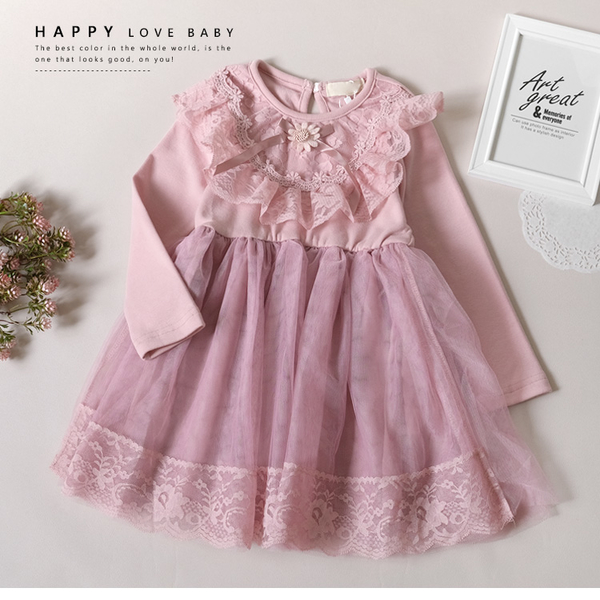 小花蕾絲紗裙洋裝 秋冬童裝 小公主 紗裙 蓬蓬裙 女童洋裝 女童連衣裙