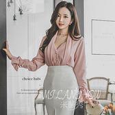 韓版性感v領上衣 新品時尚潮流韓范襯衫百搭長袖襯衫 米蘭shoe