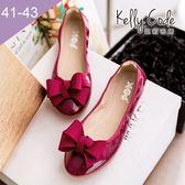 大尺碼女鞋-凱莉密碼-秋冬新色漆皮緞帶蝴蝶結蛋捲平底鞋娃娃鞋1cm(41-43)【GL728-8】酒紅