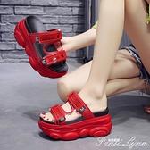 網紅涼拖新款夏季女外穿百搭透明增高鞋ins潮半拖厚底涼拖鞋 范思蓮恩