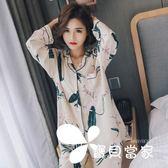 夏季睡衣女長袖薄款棉綢套裝春秋開衫寬松大碼兩件套人造棉家居服