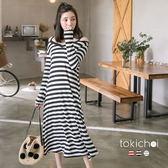 東京著衣-多色休閒可愛條紋長洋裝-S.M(180734)