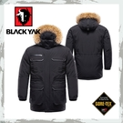 【BLACKYAK 韓國 中性Gore-Tex軍裝連帽羽絨長外套《黑》】BY162NJ90195/滑雪賞雪/防水外套