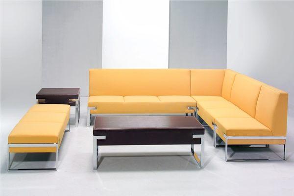 MS60-CSL-317-1S  L型組合式鋼管沙發-無背無手-緹花布-單張-不含茶几