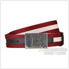 BALLY BALDOVINI壓印LOGO條紋設計帆布/牛皮雙面扣式皮帶(紅白x黑)