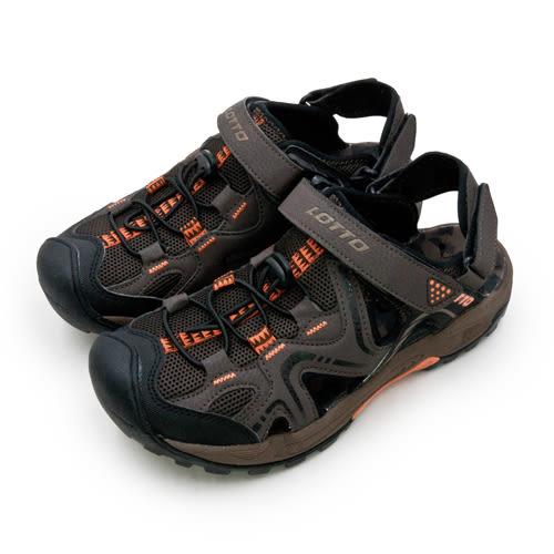 LIKA夢 LOTTO 專業排水護趾運動涼鞋 水陸悍將系列 咖啡黑 6103 男