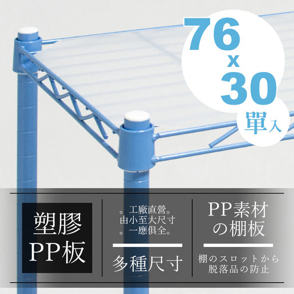 [客尊屋]小資型專用配件/30X76cm網片專用/斜角PP塑膠板/鐵力士架/鍍鉻層架/波浪層架