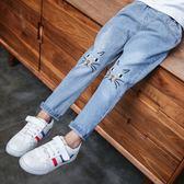 牛仔褲 女童褲子春秋款兒童牛仔褲【小天使】