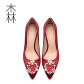 高跟鞋 女尖頭珍珠水鉆細跟單鞋紅色高跟鞋女【快速出貨】