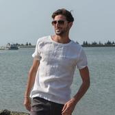 漢絮清爽透氣羅紋領亞麻t恤男裝夏季白色短袖青年圓領印花棉麻T恤