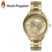 【萬年鐘錶】 Hush Puppies 都會女錶  金色錶  日期顯示 不鏽鋼  37mm  HP.3842L.1507
