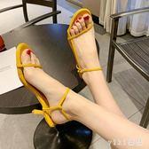 涼鞋女士2019新款網紅ins時尚百搭中跟一字鞋夏季仙女風細跟涼鞋LZ2302【VIKI菈菈】