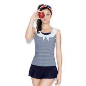 ★奧可那★ 白領藍條紋水手服兩件式泳衣